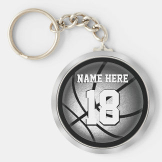 Personalized Basketball Keychains Black and Silver