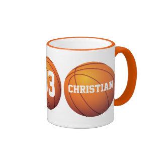 Personalized Basketball Ringer Coffee Mug