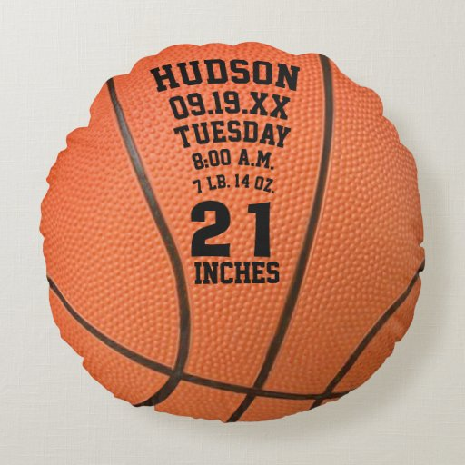 Personalized sports baby stats pillows lets personalize that personalized basketball name and baby stats round pillow negle Gallery