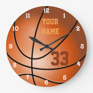 Personalized Basketball Name and Number Large Clock