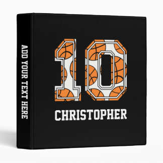 Personalized Basketball Number 10 3 Ring Binder