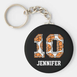 Personalized Basketball Number 10 Basic Round Button Keychain