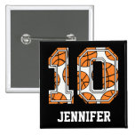 Personalized Basketball Number 10 Button