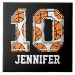 Personalized Basketball Number 10 Ceramic Tiles