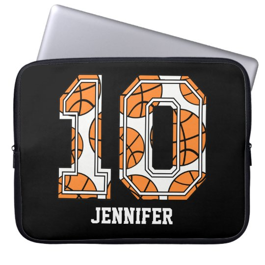 Personalized Basketball Number 10 Computer Sleeve