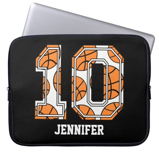 Personalized Basketball Number 10 Laptop Computer Sleeve