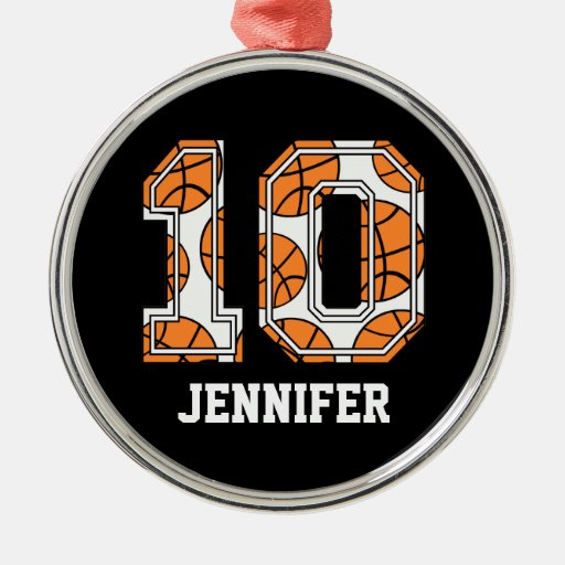 Personalized Basketball Number 10 Round Metal Christmas Ornament