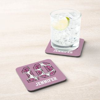 Personalized Basketball Number 10 Pink and White Beverage Coasters