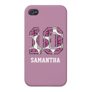 Personalized Basketball Number 10 Pink and White Cases For iPhone 4