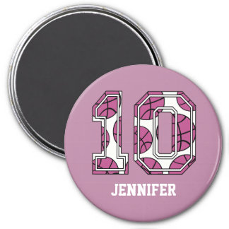 Personalized Basketball Number 10 Pink and White Fridge Magnets