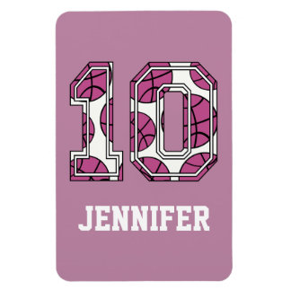 Personalized Basketball Number 10 Pink and White Flexible Magnet