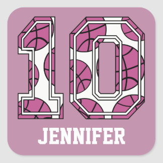 Personalized Basketball Number 10 Pink and White Square Sticker