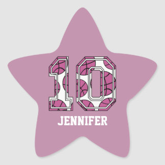 Personalized Basketball Number 10 Pink and White Star Sticker