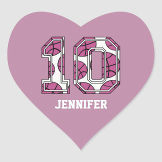 Personalized Basketball Number 10 Pink and White Heart Sticker
