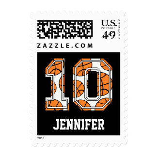 Personalized Basketball Number 10 Stamps