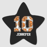 Personalized Basketball Number 10 Star Sticker