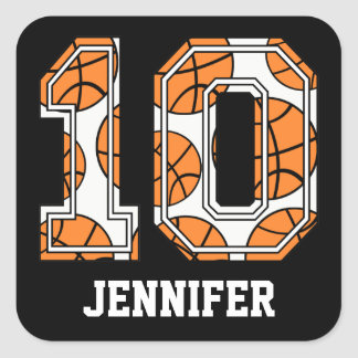 Personalized Basketball Number 10 Stickers