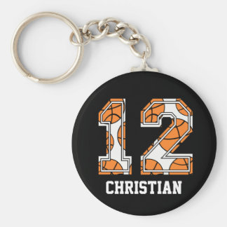 Personalized Basketball Number 12 Keychain