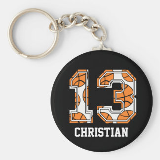 Personalized Basketball Number 13 Keychain