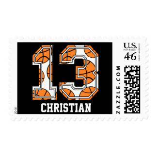 Personalized Basketball Number 13 Postage Stamps