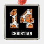 Personalized Basketball Number 14 Christmas Ornaments