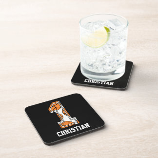 Personalized Basketball Number 1 Beverage Coaster