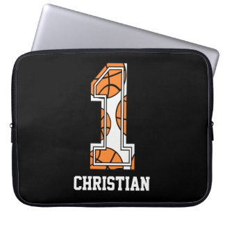 Personalized Basketball Number 1 Laptop Sleeve