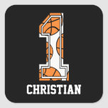 Personalized Basketball Number 1 Square Stickers
