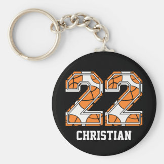Personalized Basketball Number 22 Keychain