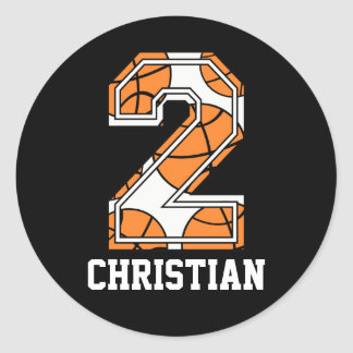 Personalized Basketball Number 2 Classic Round Sticker