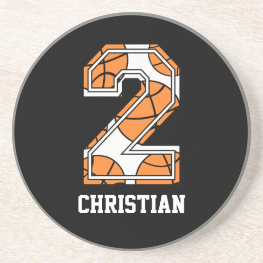 Personalized Basketball Number 2 Drink Coaster