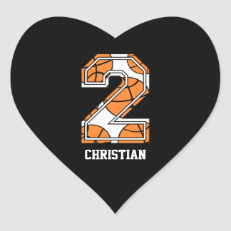 Personalized Basketball Number 2 Heart Sticker