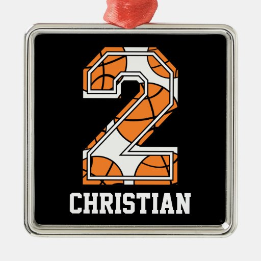 Personalized Basketball Number 2 Christmas Tree Ornaments