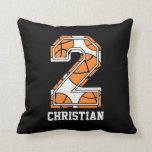 Personalized Basketball Number 2 Throw Pillows