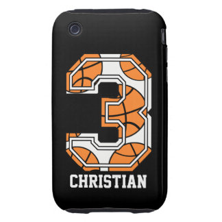 Personalized Basketball Number 3 Tough iPhone 3 Cover