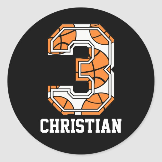 Personalized Basketball Number 3 Classic Round Sticker