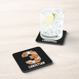 Personalized Basketball Number 3 Drink Coaster