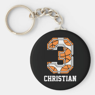 Personalized Basketball Number 3 Keychain