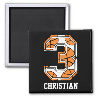 Personalized Basketball Number 3 Refrigerator Magnet