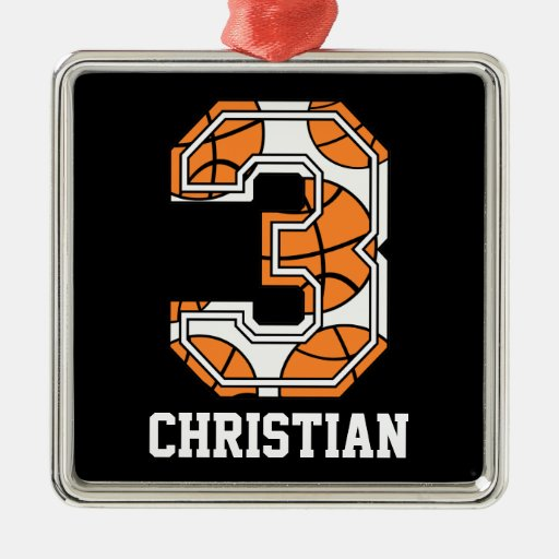 Personalized Basketball Number 3 Ornaments