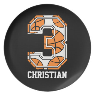 Personalized Basketball Number 3 Plates