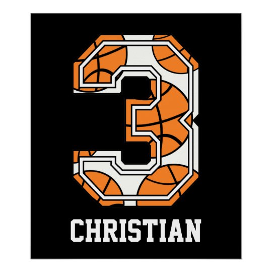 Personalized Basketball Number 3 Poster
