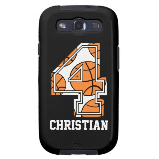 Personalized Basketball Number 4 Samsung Galaxy S3 Covers