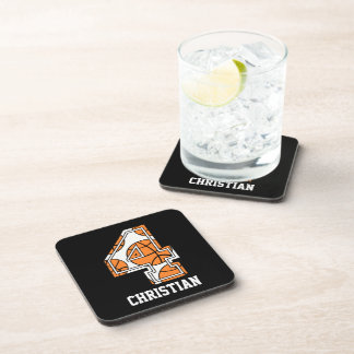 Personalized Basketball Number 4 Drink Coaster