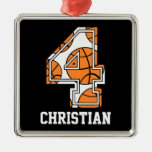 Personalized Basketball Number 4 Christmas Tree Ornament