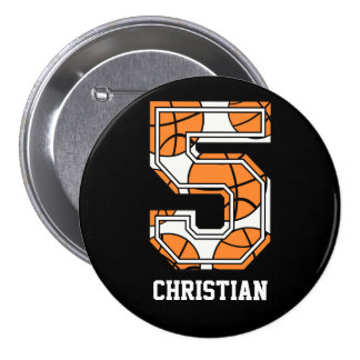 Personalized Basketball Number 5 Button