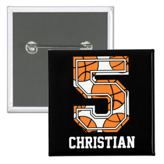 Personalized Basketball Number 5 Buttons