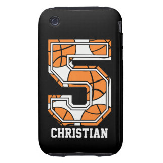 Personalized Basketball Number 5 iPhone 3 Tough Cover