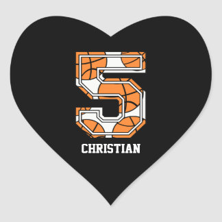 Personalized Basketball Number 5 Heart Sticker