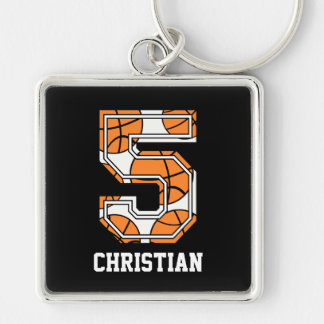 Personalized Basketball Number 5 Keychain